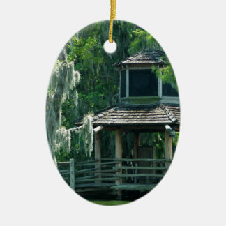 Mossy Hut Double-Sided Oval Ceramic Christmas Ornament