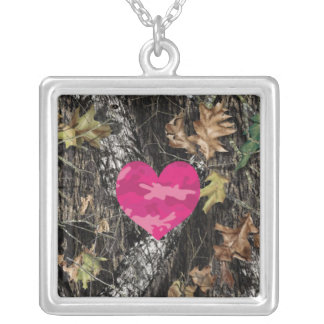 Mossy Oak Camo Heart Silver Plated Necklace