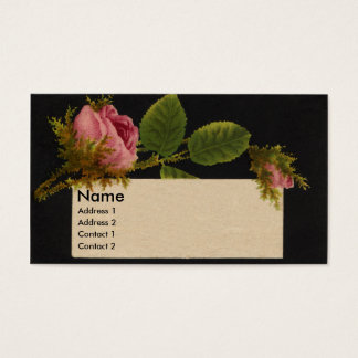Mossy Pink Rose Victorian Trade Card