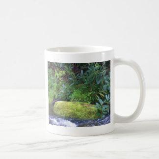 mossy rock on mountain stream coffee mug