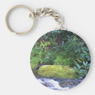 mossy rock on mountain stream key chain
