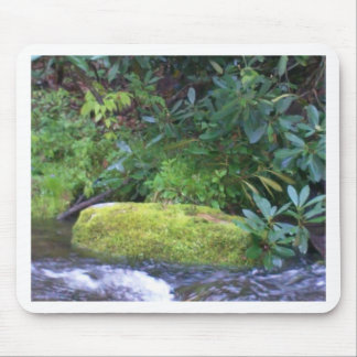 mossy rock on mountain stream mouse pad