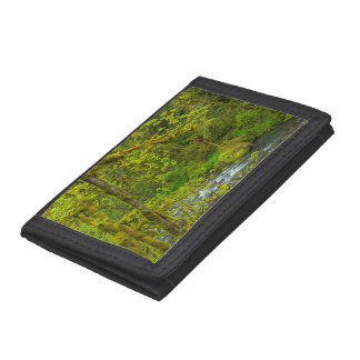 Mossy Rocks And Trees Line Eagle Creek Trifold Wallet