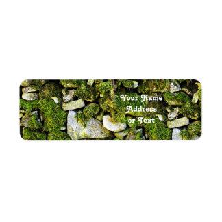 Mossy Rocks Background Return Address Label