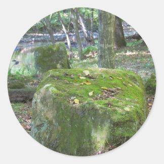 Mossy Rocks on Bank Classic Round Sticker