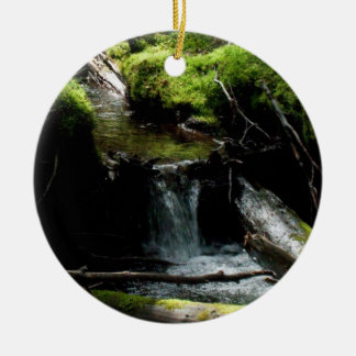 Mossy Waterfall Double-Sided Ceramic Round Christmas Ornament