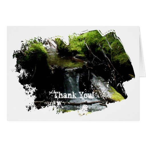 Mossy Waterfall; Thank You Greeting Card
