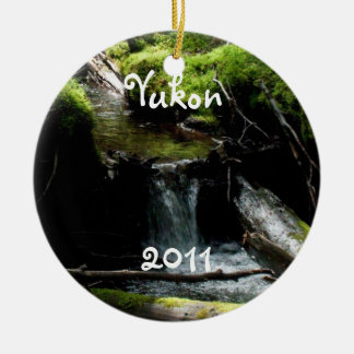 Mossy Waterfall; Yukon Territory Souvenir Double-Sided Ceramic Round Christmas Ornament
