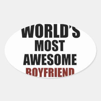 Most awesome boyfriend oval sticker
