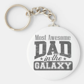 Most Awesome Dad In The Galaxy Basic Round Button Keychain