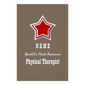Most Awesome PHYSICAL THERAPIST Sand Red Star P02B Poster