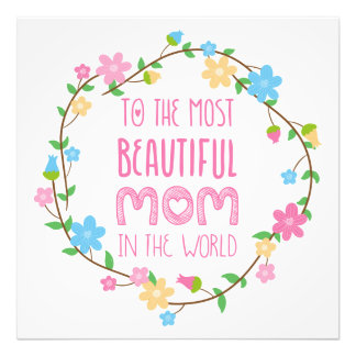 Most Beautiful Mom in the World Pink Photo Print