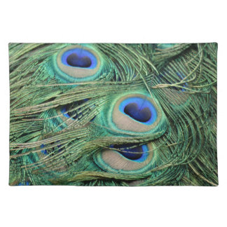 Most Beautiful Peacock Feathers Bold Blue Eyes Cloth Placemat