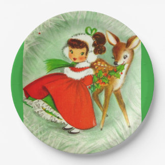 Most Beautiful Vintage Christmas Deer & Girl Paper Plate