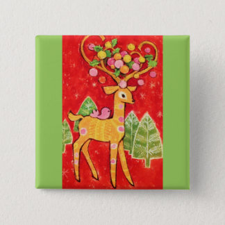Most Beautiful Vintage Christmas Deer Pinback Button