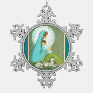 Most Beautiful Vintage Mid Century Madonna & Child Snowflake Pewter Christmas Ornament