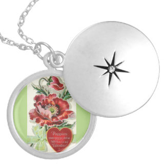 Most Beautiful Vintage Valentine Poppy Silver Plated Necklace