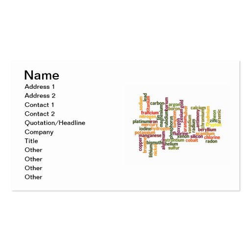 Most Common Elements (Word Cloud Chemistry) Business Cards