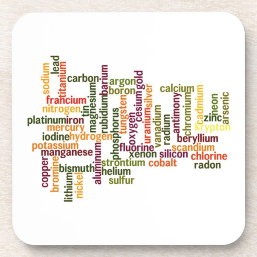 Most Common Elements (Word Cloud Chemistry) Drink Coasters