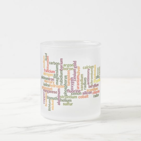 Most Common Elements (Word Cloud Chemistry) Frosted Glass Coffee Mug