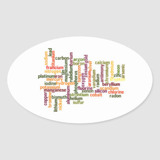 Most Common Elements (Word Cloud Chemistry) Oval Sticker