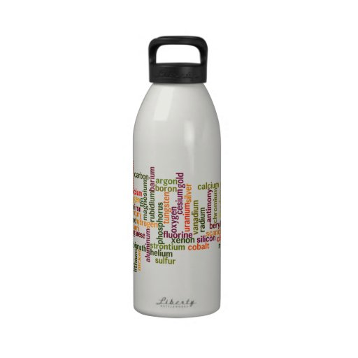 Most Common Elements (Word Cloud Chemistry) Drinking Bottles