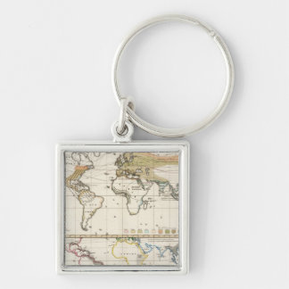 most important cultivated plants spread Districts Silver-Colored Square Keychain