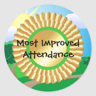 Most Improved Attendance Round Stickers