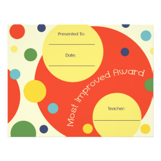 Most Improved Award Certificate - Polka Dots Letterhead