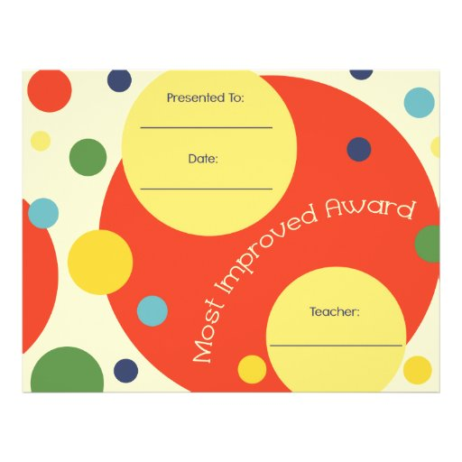 Most Improved Award Certificate - Polka Dots Customized Letterhead