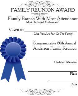 Most In Attendance Family Reunion Awards Template