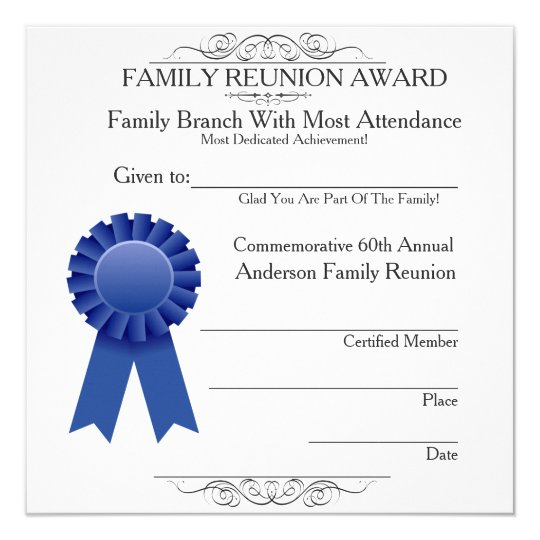 free family reunion certificates templates - most in attendance family reunion awards template