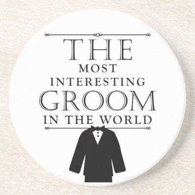 Most Interesting Groom Bachelor Coaster, Black Drink Coaster