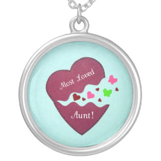 Most Loved Aunt! Round Pendant Necklace