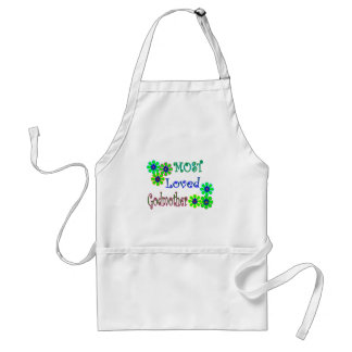 """""""Most Loved Godmother"""" Gifts Adult Apron"""