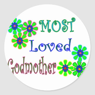 """""""Most Loved Godmother"""" Gifts Classic Round Sticker"""