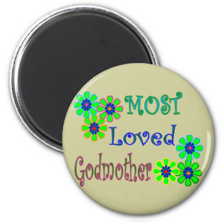 """""""Most Loved Godmother"""" Gifts Refrigerator Magnets"""