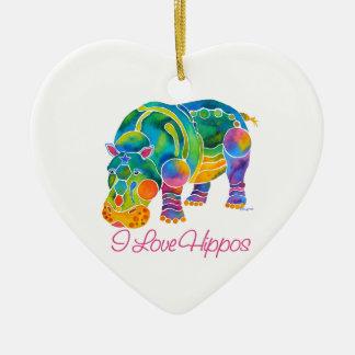 Most Popular I Love HIPPOS Ceramic Ornament