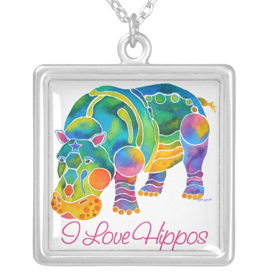 Most Popular I Love HIPPOS Silver Plated Necklace