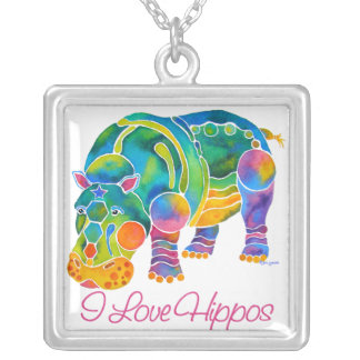 Most Popular I Love HIPPOS Square Pendant Necklace