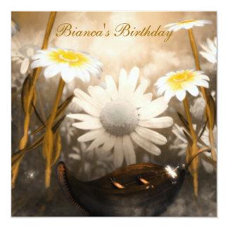 "Most Popular White flowers Birthday Invitation 5.25"" Square Invitation Card"