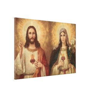 Most sacred heart of holy Jesus and holy Mary Gallery Wrapped Canvas