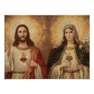 Most sacred heart of holy Jesus and holy Mary Poster