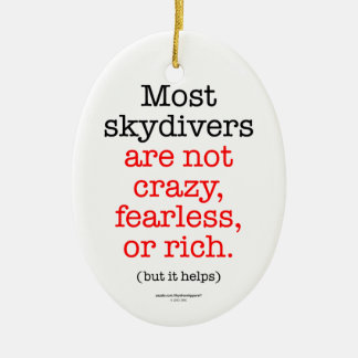 Most Skydivers Double-Sided Oval Ceramic Christmas Ornament