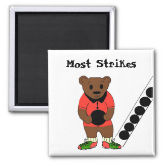 Most Strikes - Bowling 2 Inch Square Magnet