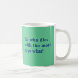 Most toys wins coffee mug