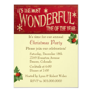 Most Wonderful Time Christmas Party Card at Zazzle