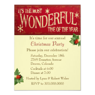 Most Wonderful Time Christmas Party Card
