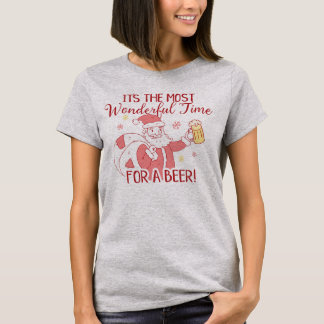 Most Wonderful Time for a Beer Santa Christmas T-Shirt