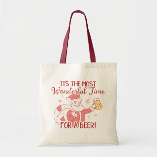 Most Wonderful Time for a Beer Santa Tote Bag